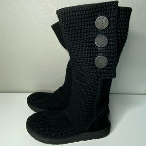 Ugg Black Knit Shearling Tall Boots Buttons Size 7